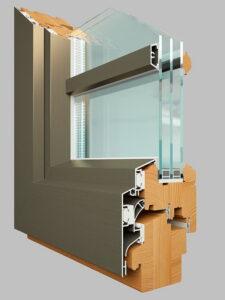 Деревянные окна с полным алюминиевым окладом в разрезе Gutmann Cora okna-fresh.ru
