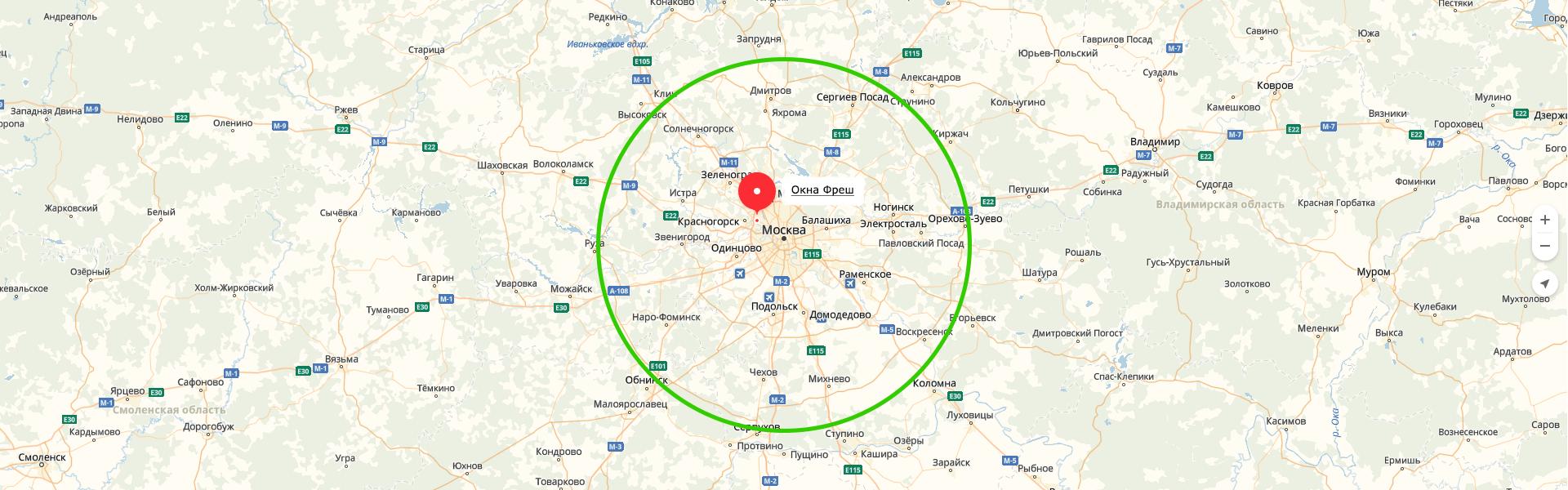 Обслуживание клиентов по всему Московскому региону, деревянные okna-fresh.ru